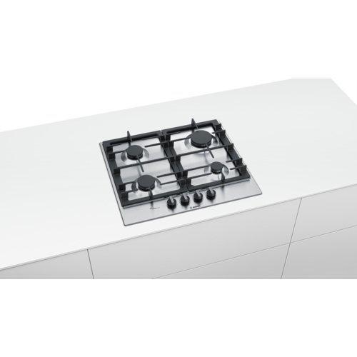 Bosch Serie 6 PCP6A5B90 płyta kuchenna Czarny, Stal nierdzewna Wbudowany Gaz 4 zone(s)