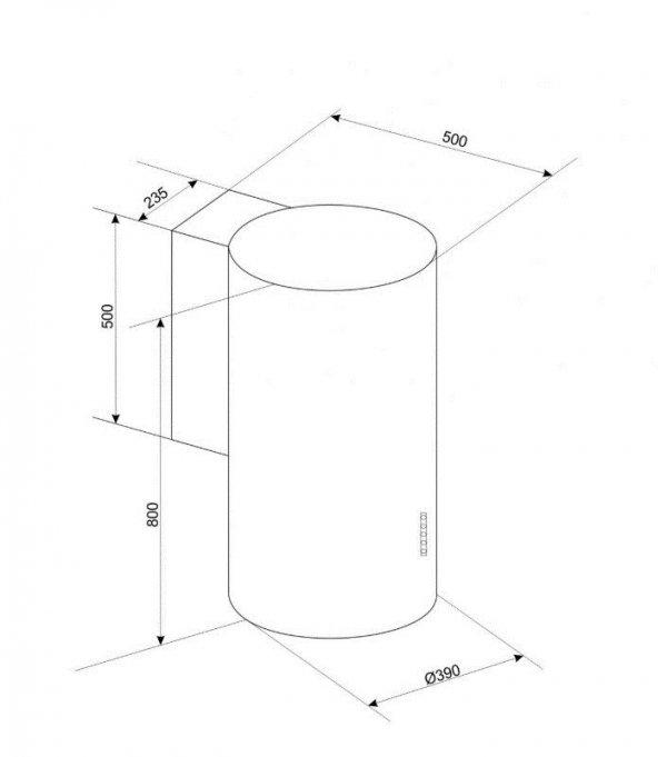 Okap wyspowy, tuba CIARKO ORW Biały (380mm, kolor biały)