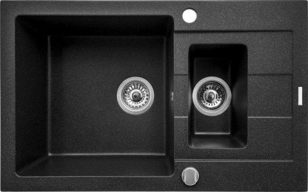 Zlewozmywak granitowy dwukomorowy z ociekaczem PYRAMIS SPARTA PLUS 78x48 1 1/2B 1D 070062801 czarny (kolor czarny nakrapiany)