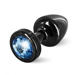 Plug analny zdobiony - Diogol Anni Butt Plug Round Black & Blue 25 mm Czarny z niebieskim