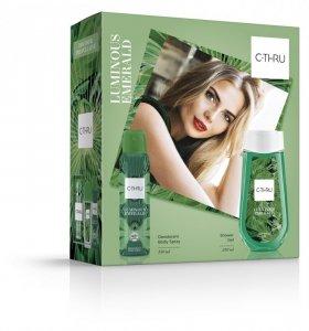 C-THRU Zestaw prezentowy Luminous Emerald (Dezodorant spray 150ml+żel pod prysznic 250ml)