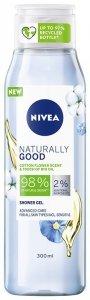 Nivea Naturally Good Żel pod prysznic - Kwiat Bawełny i Bio Olejek  300ml