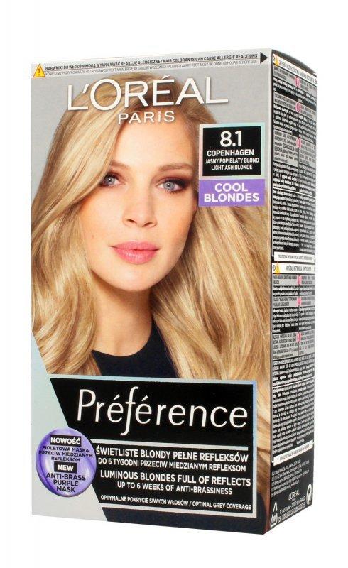 Loreal Preference Farba do włosów nr 8.1 Copenhaguen - jasny popielaty blond  1op.