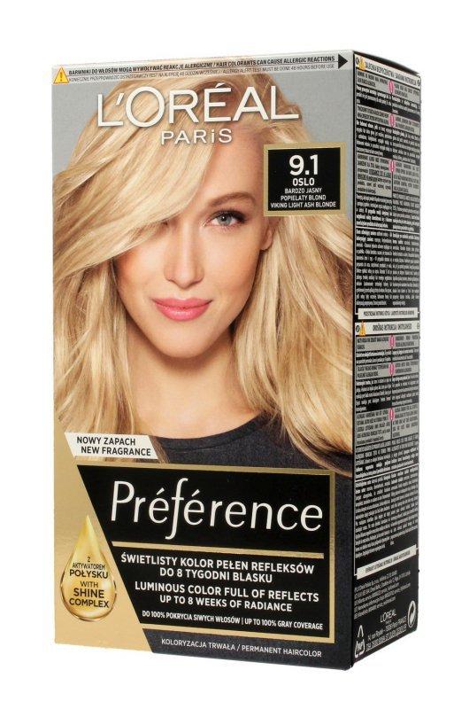Loreal Preference Farba do włosów nr 9.1 Oslo - bardzo jasny popielaty blond  1op.