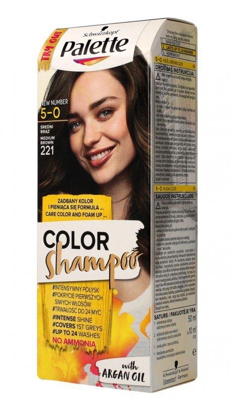 Palette Color Shampoo Szampon koloryzujący  nr 5-0 (221) Średni Brąz  1op.