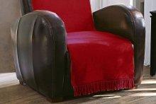 Koc jednolity bordowy na fotel