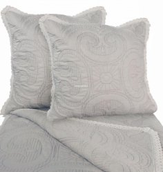 Przepiękna narzuta bawełniana szara z koronką 200x220