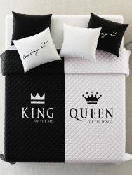 Nowoczesna narzuta z mikrofibry King&Queen perłowo-czarna  220x240