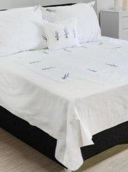 Elegancka pościel bawełniana biała z haftem lawendy 220x200
