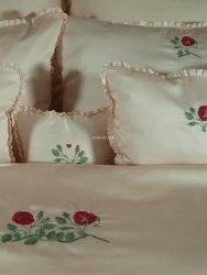 Elegancka pociel z włoskiej satyny z haftem  róży 155x200