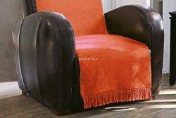 Koc jednolity pomarańcz na fotel