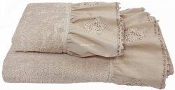 Ręcznik beżowy z falbanką 50x90, 70x140