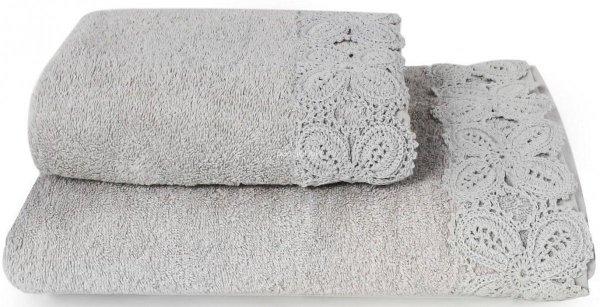 Ręcznik Ula szary z koronką 50x90, 70x140