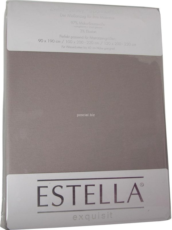 Prześcieradło zwirn-jersey z gumką Estella kiesel