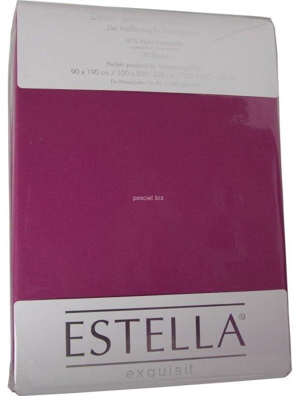 Prześcieradło zwirn-jersey z gumką Estella fuchsia