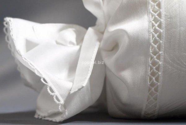 Elegancka pościel żakardowa z włoskiej satyny biała 220x200