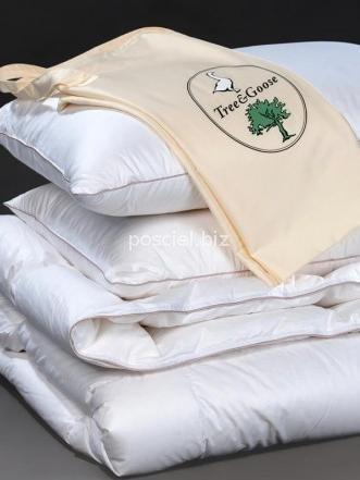 Zestaw kołdra puchowa Tree&Goose letnia 160x200+2poduszki