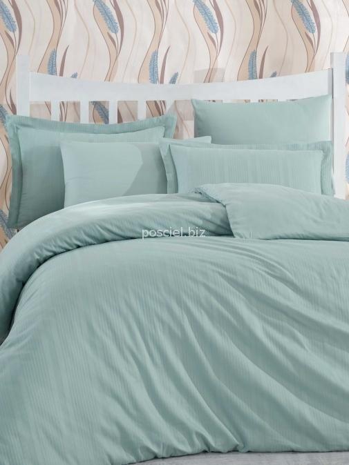 Hobby pościel satynowa żakardowa Stripe green 200x220