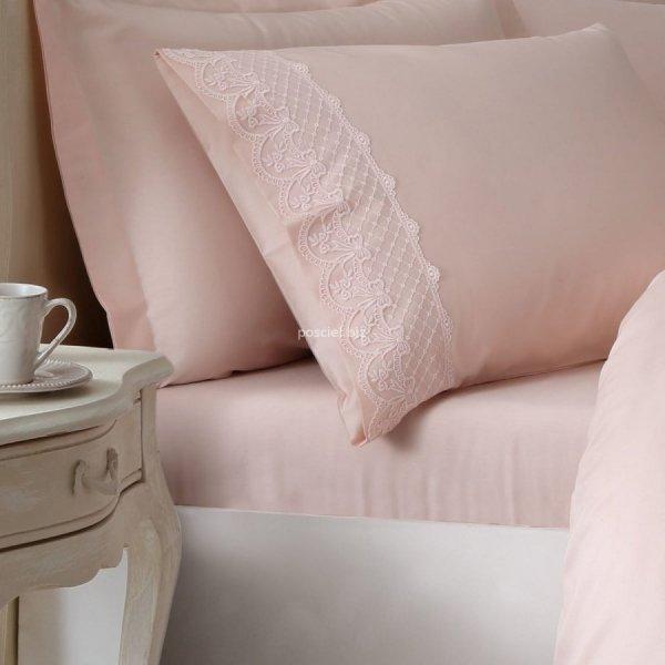 Ekskluzywna pościel na prezent Tivolyo Olivia pink z koronką