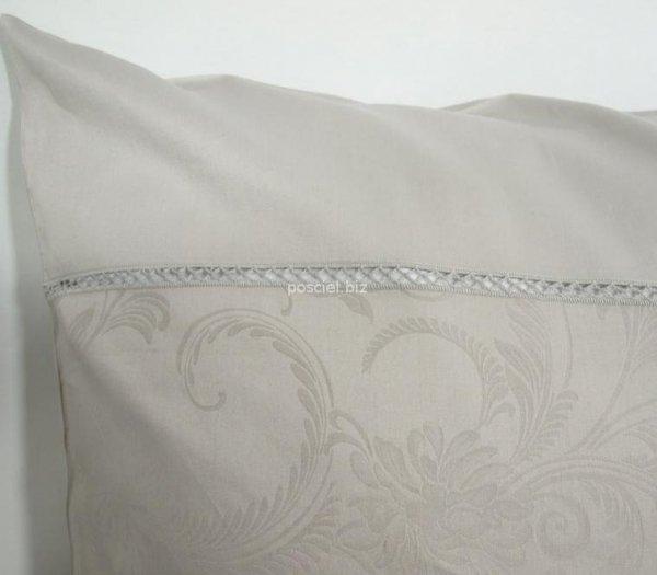 Elegancka pościel żakardowa z włoskiej satyny popielata 220x200