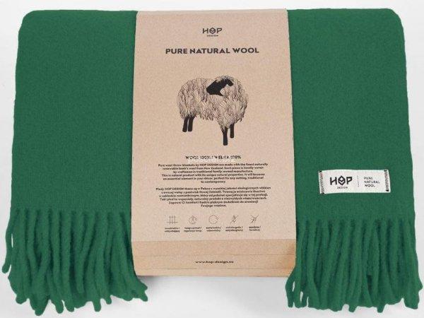 Hop koc wełniany Yeti butelkowa zieleń 145x205