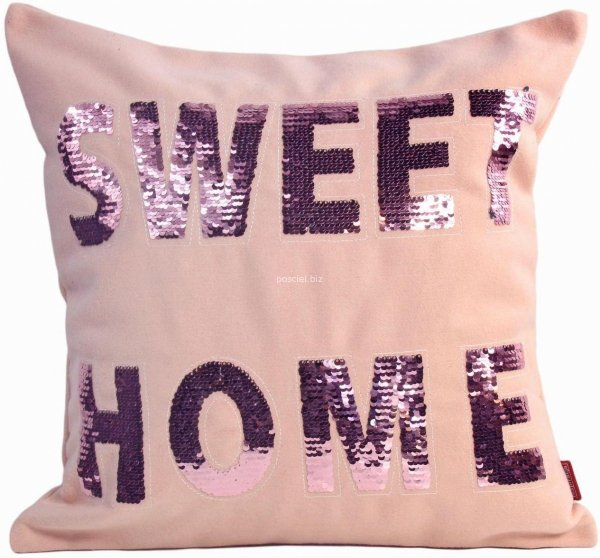 Poszewka filcowa cekiny  róż Sweet Home 45x45