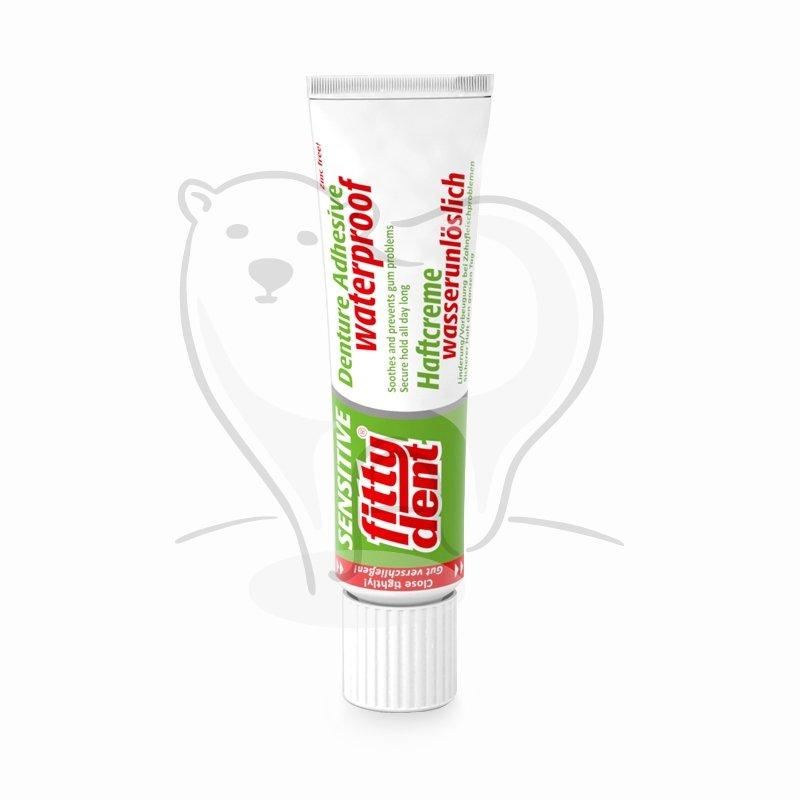 FITTYDENT Sensitive - Supermocny wodoodporny klej do mocowania protez zębowych bez cynku z aloesem i mirrą 40g