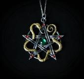 naszyjnik Bogini Minerwa - pentagram z wężem