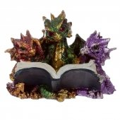 Trzy Kolorowe Smoki z Książką - figurka fantasy