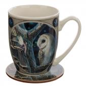Sowa i Wróżka - porcelanowy kubek z podkładką