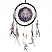 Biały Wilk Jesienny Opiekun - łapacz snów z obrazkiem Lisy Parker, 33cm