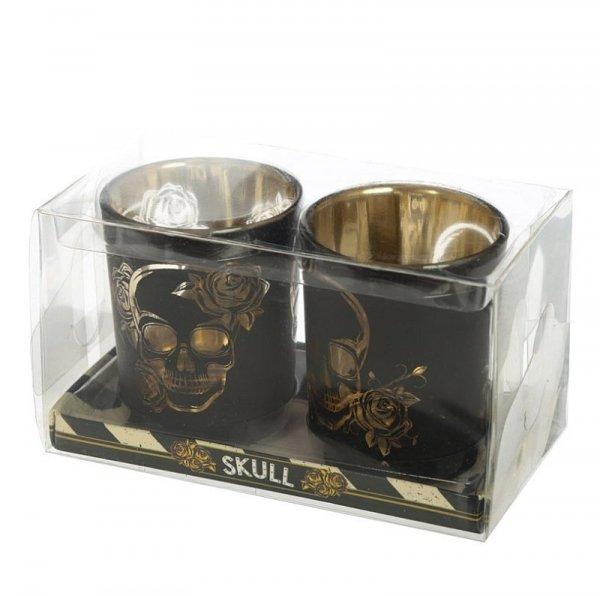 mroczny świecznik z czaszkami, świeczniki na podgrzewacze czaszki czachy