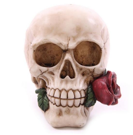 """figurka """"Czaszka z Różą"""" - figurki czaszek"""