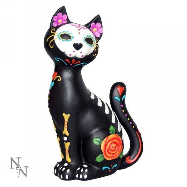 Sugar Kitty - figurka czarnego kota ozdobionego w stylu meksykańskich calaveras de azucar