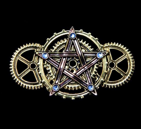 "broszka steampunk mechaniczny pentagram pentakl ""Penta Meridia"" seria Engineerium by Anne Stokes"