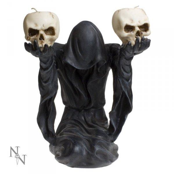 mroczne gadżety i dekoracje: świecznik z mrocznym duchem i czaszkami
