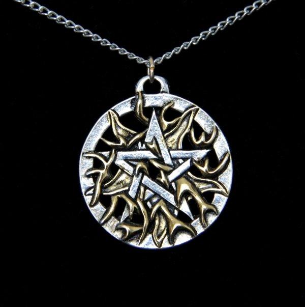 """magiczny naszyjnik, wisiorek pentakl """"Fire Pentagram"""" Pentagram w Ogniu, talizman energia i odwaga"""