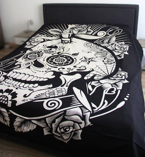 """narzuta na łóżko bawełniana biało-czarna """"Meksykańska Czaszka"""", flaga na ścianę"""