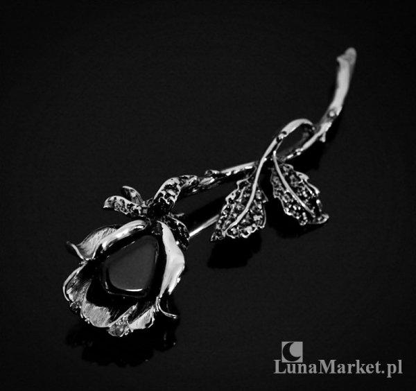 biżuteria z naturalnym onyksem - broszka Czarna Róża