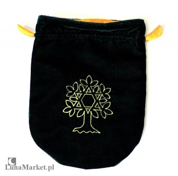 zielona sakiewka z aksamitu, woreczek na karty tarota, runy, talizmany - Celtyckie Drzewo Życia