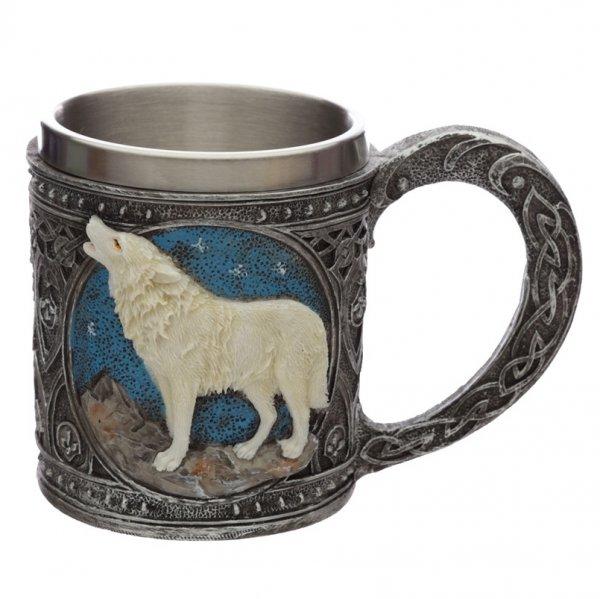 kufel do piwa  z białym wilkiem - Wilk Strażnik Północy