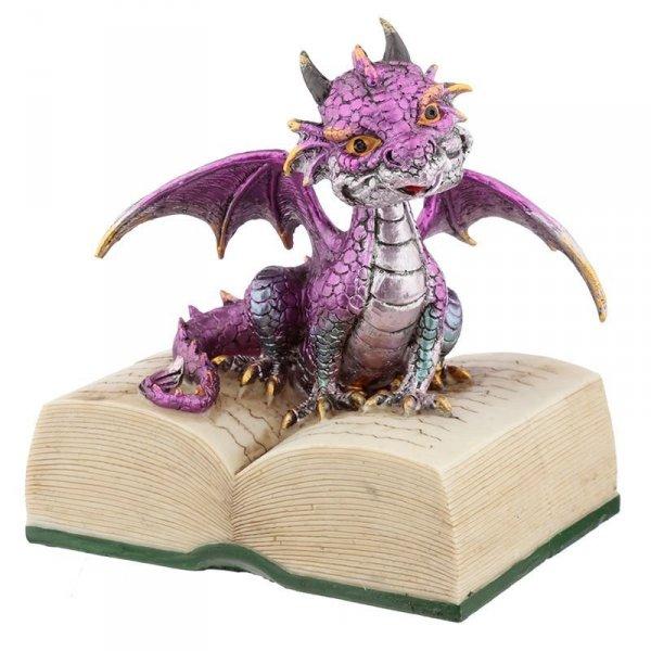 Fioletowy Smok z Książką - figurka w stylu fantasy
