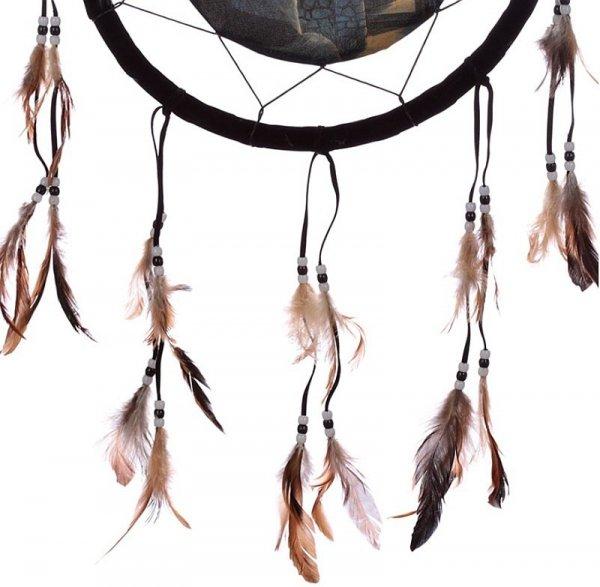 Czarny Kot Czarownicy - indiański łapacz snów z obrazkiem projektu Lisy Parker