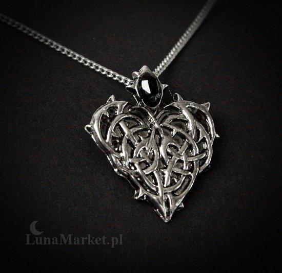 """gotycki naszyjnik Kolczaste Serce - talizman: """"Wieczna Miłość i Oddanie"""""""