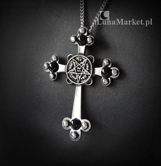magiczny naszyjnik - Krzyż Mrocznego Światła z pentagramem