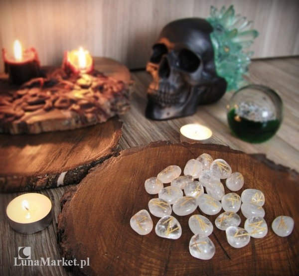 alfabet runiczny naturalne kamienie kwarc przezroczysty - Runy Kryształ Górski