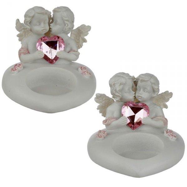 mały świecznik na świeczkę podgrzewacz - Dwa Aniołki cherubiny z kryształowym sercem