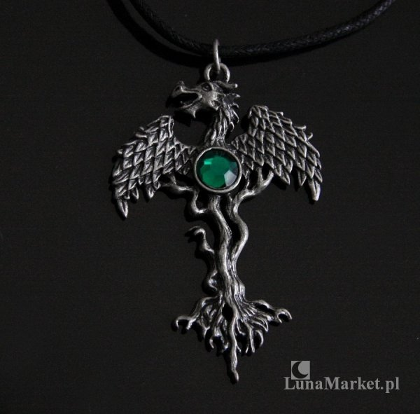 """magiczny naszyjnik Smocze Drzewo - Dragon Tree z serii """"GreenWood"""", amulet ochronny"""