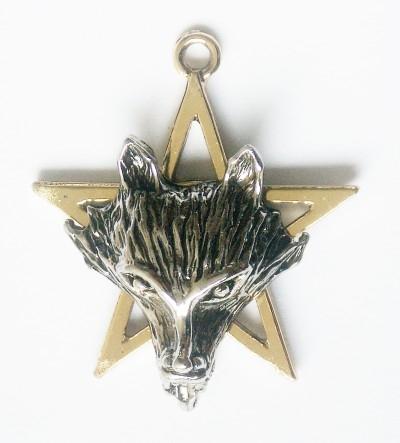 """naszyjnik z wilkiem i pentagramem """"Noc Wilka"""" - talizman: Siła i Mądrość"""