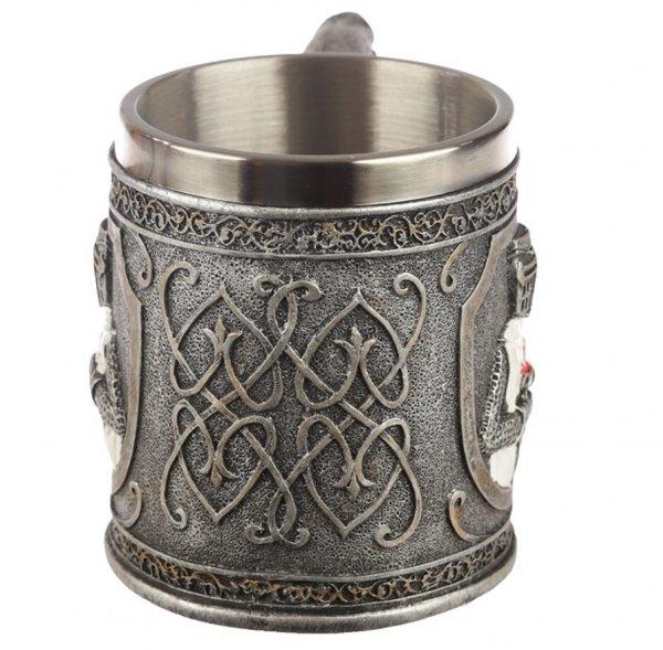 dekoracyjny średniowieczny kufel z rycerzem